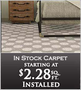 In stock carpet starting at $2.28 sq/ft installed - at Flooring & Carpet Warehouse in Coram